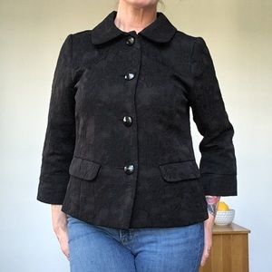 VINTAGE Black Brocade Cropped Jacket Blazer M